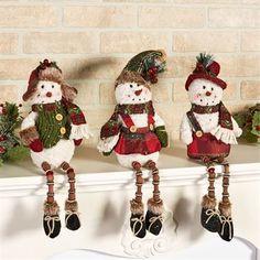 Button Leg Snowmen Shelf Sitter Set