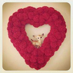 DIY ~ Pom Pom Heart Wreath