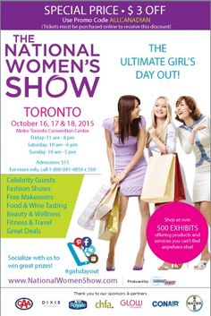 Fall into the Fall National Women's Show ~ Giveaway and Discount Code ~ Ottawa Area : Ottawa Mommy Club – Moms and Kids Online Magazine Admission Ticket, Win Tickets, Montreal Quebec, Guest Speakers, Girl Day, Kids Online, Days Out, Ottawa, Ladies Day