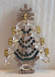 SIGNED HUSAR D Czech CHRISTMAS TREE BROOCH - Clear/Yellow/Green   eBay