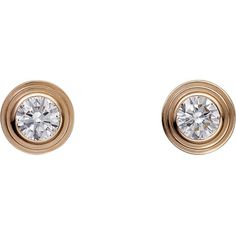 CARTIER Diamants Légers de Cartier 18ct pink-gold and diamond earrings (€860) ❤ liked on Polyvore featuring jewelry, earrings, diamante earrings, diamond jewelry, cartier jewellery, rose gold jewellery and red gold jewelry