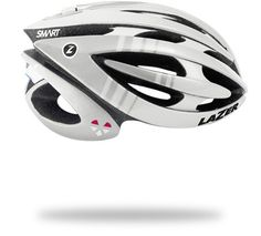Genesis Lifebeam cycling helmet with heart rate sensor placed within the existing head band. Processing unit at back of helmet transmits data to  your communication device. From Lazersport in collaboration with Lifebeam.