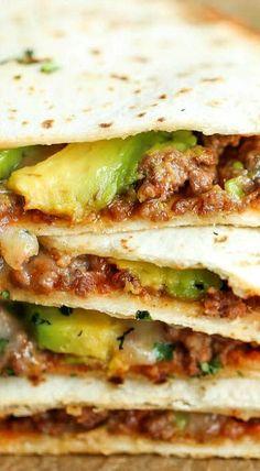 Cheesy Beef Avocado Quesadillas
