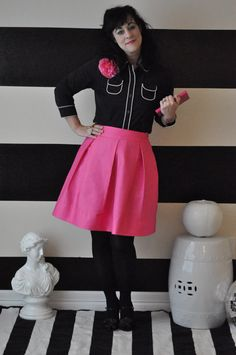 Pink Hartley Skirt full pleated skirt very retro by SandeeRoyalty