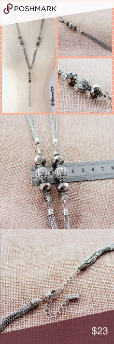 New Silver Necklace Grey Crystal & Tassel Beautiful silver plated long necklace with grey gun metal color Crystal with tassel. Jewelry Necklaces
