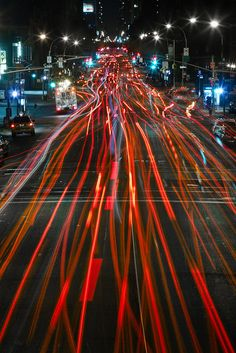 Barry YANOWITZ :: New York drivers :: lanes? we don't need no stinkin' lanes. light trail spaghetti. | Meat Packing District, NY, 2010