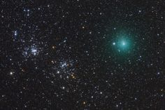 Comet Hartley Passes a Double Star Cluster