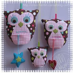 Owl pattern for felt Animal Sewing Patterns, Owl Patterns, Sewing Patterns Free, Sewing For Kids, Diy For Kids, Mobiles, Crafts To Make, Arts And Crafts, Pop Couture