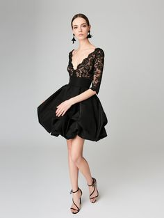 Corded Lace and Silk-Faille Cocktail Dress - Ready-to-Wear