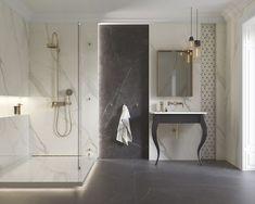 Women's Bathroom: Incredible and Creative Decor Ideas - Home Fashion Trend Yellow Bathrooms, White Bathroom, Modern Bathroom, Small Bathroom, Bathroom Marble, Bathroom Ideas, House Tiles, Wall And Floor Tiles, Bathroom Styling