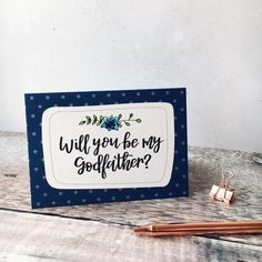Will You Be My Godfather Card Godparent Cards Godfather Polka Dot Background, The Godfather, Classic White, White Envelopes, Unique Gifts, How To Draw Hands, Polka Dots, Etsy Shop, Messages