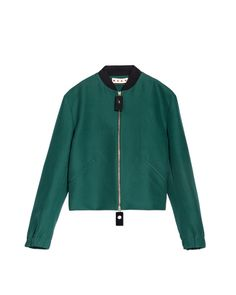 Marni | Green Bomber In Cotton Cady With Resin Sliders | Lyst