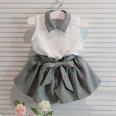 Toddler Kids Baby Girl Outfits T-shirt Tops + Pants Trousers Clothes Set Little Girl Fashion, Fashion Kids, Fashion Vest, Fashion Check, 2000s Fashion, Fashion Clothes, Latest Fashion, Korean Fashion, Girls Summer Outfits