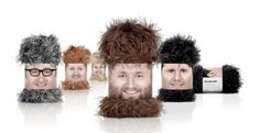 """Whimsical """"Wooly Heads"""" packaged to look like something out of a Tim and Eric skit. 