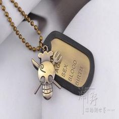 Punk identity cards mens army card long pendant necklace women soldiers | punk rock necklaces