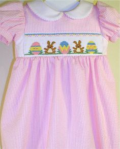 Smocked Easter Bunnies Dress by GumdropGrove on Etsy, $64.00