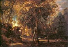 Forest Landscape at the Sunrise - (Peter Paul Rubens)