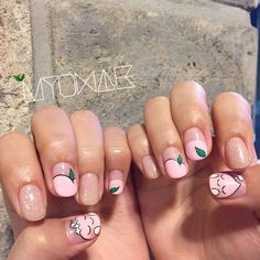 [New] The 10 Best Fashion Today (with Pictures) Peach Nail Art, Peach Nails, Minimalist Nails, Cute Nail Art, Cute Nails, Korea Nail Art, Cute Spring Nails, Korean Nails, Nails For Kids