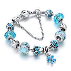 SZELAM 2017 Fashion Charm Jewelry Bracelets for Women Blue Crystal Beads Bracelet Female Pulseras Silver Bracelets, Bangle Bracelets, Bangles, Pandora Bracelets, Flower Bracelet, Heart Bracelet, Jewelry Companies, Blue Crystals, Crystal Beads