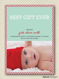 first christmas holiday baby announcement photo card PRINTABLE 5x7 digital file DIY