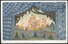 "Ivan Bilibin, Castle of Naina. Sketches of scenery for Mikhail Glinka's ""Ruslan and Ludmilla""."