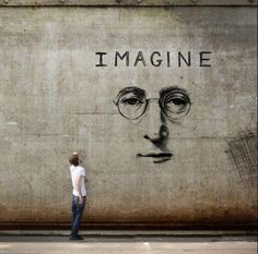 Street Art: A really interesting urban John Lennon Imagine mural. This graffiti appears to be fused to the wall creating a modern work of art while decorating a barren wall. We particularly enjoy uplifting and artistic expression. Street Art Graffiti, Graffiti Kunst, Street Art Quotes, Graffiti Artwork, Amazing Street Art, Amazing Art, Awesome, John Lennon, Urbane Kunst
