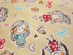 Kawaii Cotton Fabric  Girls Love Cupcakes on Tan  by theheydayshop, $7.80