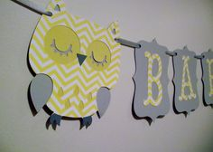 small BABY gray and yellow chevron, OWL, its a girl, its a boy, sweet baby, baby boy, baby girl, photography prop, on Etsy, $20.00