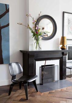 Fireplace & black eames