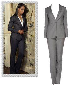 The suit is the pièce de résistance of power dressing and no one illustrates that better than Olivia Pope. She injects modernity into the workwear staple by knixing boxy forms in favor of feminine cuts and immaculate tailoring. Channel your inner gladiator at the office by sporting a commanding pantsuit — preferably one with a shawl collar jacket. Tagliatore Women's Suit, $426; yoox.com.