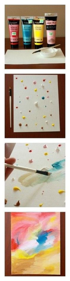 Splatter paint canvas. Simple DIY art—simply spread the colors all over however you like