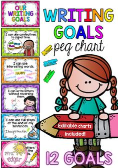 Writing Goals:A writing goal peg chart to help students track their progress. 12 clear writing goals that include pictorial examples. The goals included are:- I can use full stops at the end of my sentences.- I can write letters without reversing them.- I can use interesting words.- I can use connectives to signal time.- I can write correctly on the dotted thirds.- I can use capital letters for names of people, places, days and months.- I can use speech marks in my writing- I can use…