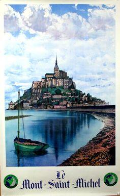 Vintage Travel Poster - France - Mont St Michel, vintage travel poster, 1930, L. Pecheuy