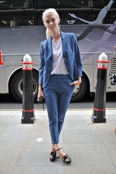 The pant suit is big news at #LFW #StreetStyle