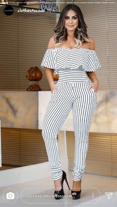 Jamile Lima Hot Outfits, Summer Outfits, Off Shoulder Jumpsuit, Dress Attire, Grown Women, Casual Jumpsuit, Girl Model, Trendy Hairstyles, Plus Size Fashion