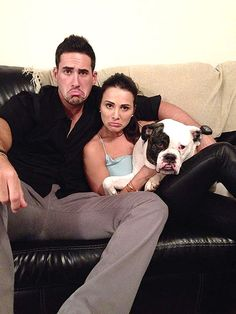 Andi Dorfman, Fiance Josh Murray Mock Her Famous Frown in Cute Family Picture After Bachelorette Finale. Cute Family Pictures, Cute Photos, Family Photos, Celebrity Dogs, Celebrity Couples, Andi And Josh, Cute Celebrities, Celebs, Josh Murray