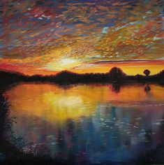 """Just one of the thousands of beautiful sunsets in our lifetime reflected across a still pond. This is a 12x12"""" square original oil painting by UK artist Ellisa Hague. Price includes VAT and standard UK P&P. Please visit www.EllisaHagueOriginal.com for more information."""