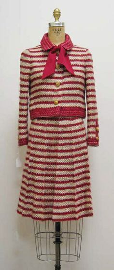 Suit House of Chanel (French) ca.1970 mohair, wool, synthetic, silk, metal.