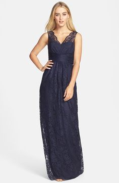 Amsale Empire Lace Gown available at #Nordstrom-Blush,Navy,Pewter, Slate, Truffle - $ 360.00