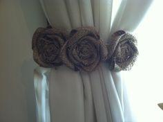 Burlap Curtain Tie Back Pair Three Natural by redesignaccessories, $30.00