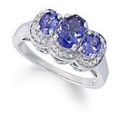 Sterling Silver Ring, Tanzanite (1-1/4 ct. t.w.) and Diamond Accent 3-Stone Ring