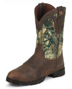 I have these in pink, now if we could get pink camo, but the camo can do just fine. Very comfortable riding boots for those long days on horseback in the sierras! They are Justin 3:1's......