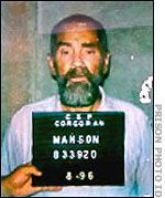CHARLES MANSON Many hardened criminals blame their crimes on their parents, but few have as clear a case as Charles Manson. His mother was an alcoholic prostitute who sold him for a pitcher of beer. In and out of reform school as a youngster, he had an IQ of 109.