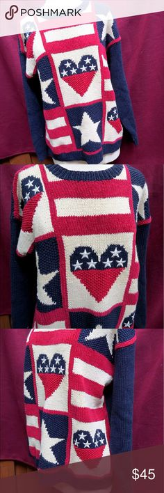 """Talbots Hand-Knitted Patriotic American Sweater Very bright, very patriotic hand-knitted sweater from Talbots, ladies' sz M. Dark blue, red and light tan/white pattern of stars and stripes, patriotic, embroidered hearts, showing your love of the good ol' US of A, United States of America. Medium-knit acrylic/wool blend material.   Measurements are: Length - 26.5"""" Underarm to underarm - 20"""" Sleeve length - 22""""  From a smoke-free home. I love to work deals, so feel free to bundle and we'll…"""