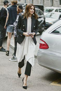 Christine Centenera in a black blazer + white dress + black cropped trousers + black heels