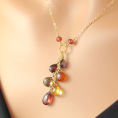 Autumn Leaves Gemstone Necklace Semiprecious Jewelry Gold Filled Smoky quartz Hessonite Wire Wrapped Complimentary Shipping. $90.00, via Etsy.