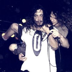 Temple of the Dog. Chris Cornell & Eddie Vedder  :) Probably my favorite picture of the two of them <3