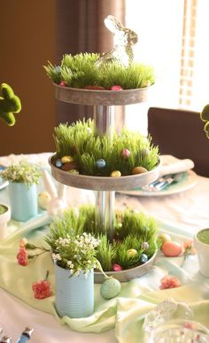 Tiered Easter Stand by The Goodwill Gal.  I might do this but grow real grass (see other pin).