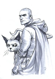 The Will and his Liar Cat original sketches for her Kickstarter - The Girl who would be King by Fiona Staples