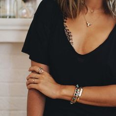 A v-neck tee with a gorgeous lace bralette underneath? Love this look.